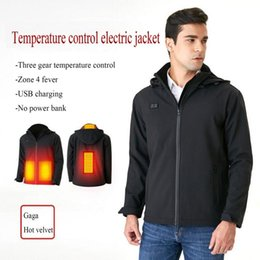 Wholesale heated jackets resale online - Mens Heated outdoor Coat USB Electric Charging Long Sleeves Heating Hooded Jacket Warm winter Thermal Clothing Skiing Riding