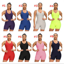 Wholesale necked girl yoga resale online – Women Sleeveless Bodysuit Jumpsuit Shorts Rompers One Piece Pants Sexy Backless Overalls Fitness Gym Yoga Sportswear Beach Clothes F92804