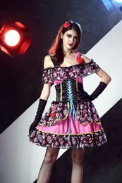 Wholesale bride costumes for sale – halloween Mexican Day of the Dead Scary Skull Dress Halloween Masquerade Cosplay Vampire Ghost Bride Costume