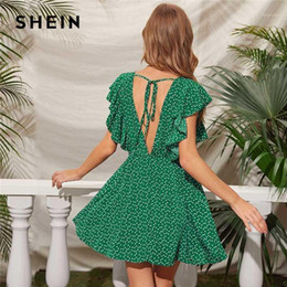 Wholesale shein dresses for sale - Group buy SHEIN Green Confetti Heart Print Tie Back Ruffle Armhole Dress Women High Waist V Neck A Line Summer Boho Short Dresses1