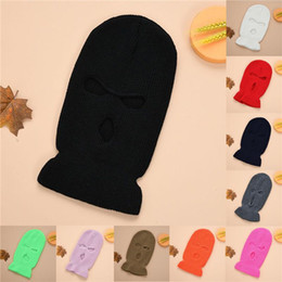 army ski mask 2021 - Full Face Cover Mask Three 3 Hole Balaclava Knit Hat Army Tactical CS Winter Ski Cycling Mask Beanie Hat Scarf Warm Face