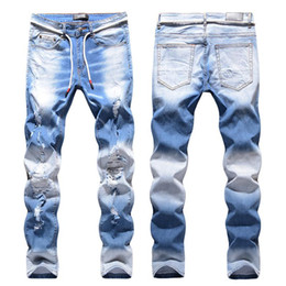 ingrosso i jeans baffi-High Street Light Blue Fashion Hip Hop Brand Jeans Baffi Effetto Fori ginocchio Stretch Skinny jeans slim fit denim Pantaloni Uomo Mid
