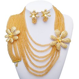 Wholesale african queen for sale – custom Yulaili Trendy African Beads Jewelry Sets Classic Yellow Color Choker Necklace Bracelet Ring Nigerian Wedding Party Queen Jewellery