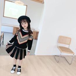 2020 nouveaux chandails enfants Automne hiver bébé fille garçon pull-flover noir rose pull coton en coton pour enfants jupe tricotée pour enfants en Solde
