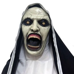 latex nun costume UK - The Mask Horror Latex Halloween Cosplay Valak Scary Costume Props Full Face GGA2509 Demon Halloween Party Masks Helmet Nun Mask Pabsj