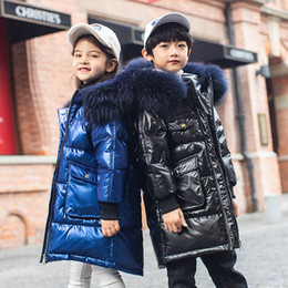 boys fur parka 2020 - -30 Down Jacket for 10 12 years Boy Girl Glossy Parkas 2020 New Fur Hoodies Children Winter Teenage Clothes discount boy