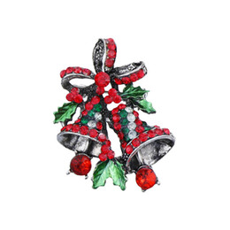 Wholesale kids indian clothes resale online - Vintage Gold Silver Color Brooch Pin CZ Zircon Wreath Bells Christmas Brooches For Women Kids Family Gift Clothes Decoration Jewelry