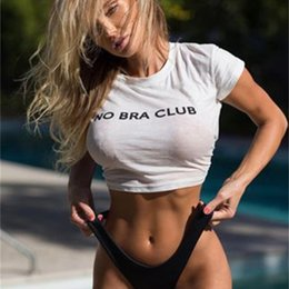 Wholesale no bra club for sale - Group buy 2020 New Women Style Summer Vest Sexy No Bra Club Short Sleeve Tshirts Printed Letters T Shirt Women s Navel Top