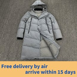 Wholesale men hoods online – oversize Stone Pirates island ss new White goose down filled metal nylon hood down jacket with brand print on the back