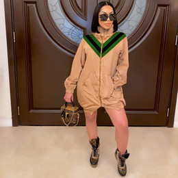 Wholesale high collar trench for sale - Group buy Patchwork High Collar Womens Outerwear Spring Autumn Loose Casual Women Designer Trench Coats Hot Sell Clothing