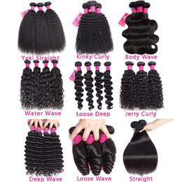 9A Brazilian Human Hair Bundles onda de corpo reto onda profunda Kinky encaracolado onda solta 100% brasileiro peruano peruano Malaysian Human Weeves em Promoção