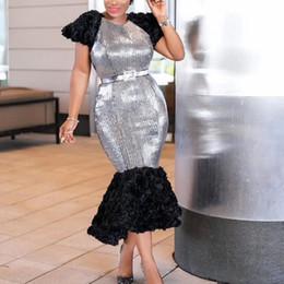 Wholesale sexy sleeve dinner dresses plus size resale online – Sexy Club Plus Size Dinner Party Silver Autumn Women Dresses Mermaid Asymmetric Elegant African Female Fashion Chic Midi Dress