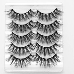 mink false eyelashes wholesale Australia - 5 Pairs Mink Hair False Eyelashes Wispy Fluffy Long 5D Faux Mink Lashes Natural Handmade Eye Makeup Extension Eyelashes