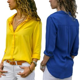 womens office blouse 2021 - Womens Chiffon Tops Blouses Autumn Solid V-Neck Office Blouse 2020 Female Work Women Button Up Shirt 3XL corset top blouse