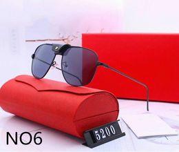 venda por atacado Mens Mulher Designer Sunglasses Luxo Óculos de Sol Designer Glass Glass Adumbral Vidros UV400 Modelo 5200 6 Cores Opcional de alta qualidade com caixa