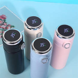 stainless steel smart mug UK - 420ML Smart Thermos Stainless Steel Water Bottle Led Digital Temperature Display Coffee Thermal Mugs Intelligent Insulation Cups 201110