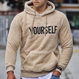 Wholesale sherpa hoodie for sale - Group buy Winter Mens Hoodie Sherpa Fleece Letter Printed Sweatshirts Fuzzy Long Sleeve Fall Outwear Winter Hooded with Kangaroo Pockets