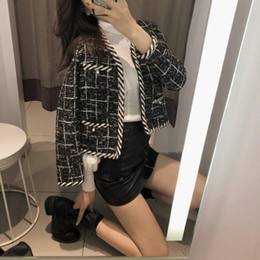 Wholesale new jackets designs ladies for sale - Group buy Fashion New Design Spring Autumn Womens Chic Plaid Tweed Jackets Long Sleeve V Neck Pearls Office Ladies Short Open Stitch Coats