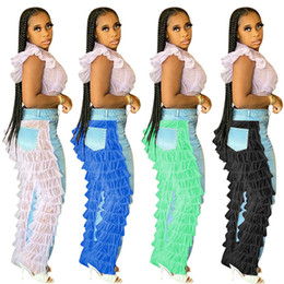 Fashion Womens Denim Jeans Layered Tiered Layers Mesh Lace Patchwork Pants Light Blue Knee Holes Trousers Designers Boutique Cloth F101901 on Sale