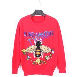 Wholesale woollen sweaters women for sale – oversize NEW wool red new popular tops women sexy woollen sweater cashmere blend Animal motifs coat sequins Embroidery jacket