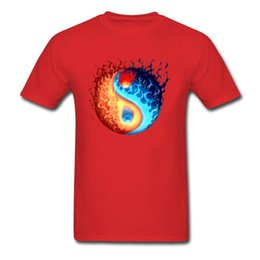 100% Yang Fire Ball Cotton Yin Stampa Men Red T-shirt manica corta Moda Hip-hop Tee Shirt Skateboard Street Wear