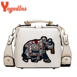 crossbody women bag Australia - Yogodlns Luxury Shoulder Bag For Women PU Leather Crossbody Bag Vintage Embroidery Elephant Handbag Designer Lady Purse Bolsas 201014