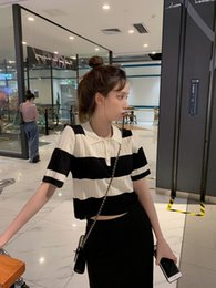 Wholesale navel shirts resale online – puTKx Summer new black and white striped stitching short Top Sweatertsweatersleeve T shirt shirt short navel POLO collar top sweater POLO DgR