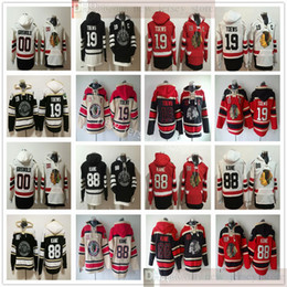 Chicago Blackhawks Hóquei Hoodie Jerseys 19 Jonathan Toovs 88 Patrick Kane 00 Clark Griswold Costurada Vermelho Branco Black Hoodies camisolas em Promoção