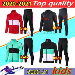 Ingrosso 2020 2021 Liverpool giacche di calcio dei capretti tuta Survêtement 20 21 M.SALAH THIAGO MANE FIRMINO bambino giacca a maniche Maglia piede di calcio lungo tuta da jogging insieme