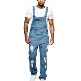 Wholesale jean overalls pants for sale – dress VERTVIE Denim Overalls Men One Piece Full Length Ripped Jeans Men Casual Jeans Pants Straight Pantalon Homme Bottoms