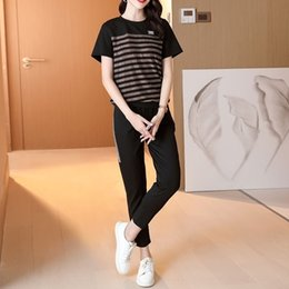 Wholesale korean women sports suit for sale – designer QivxQ Leisure short suit women casual two piecesports sports summer new fashion brand two piece style age reduction Korean loose foreign