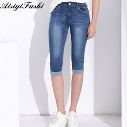 woman leopard jeans 2021 - Women'S Pants High Waist Jeans Plus Size Feminino Pants Capri Leggings Women Plus Size Capris Jeans Stretch Denim Knee Length 201014