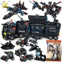 toys police truck Canada - HUIQIBAO SWAT Police Station Truck Machine Building Blocks City Helicopter Car Special Forces Figures Bricks Educational Toys C0119