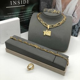 Wholesale Dijia d family new multi letter necklace bracelet CD family Korean version simple earrings personalized ring