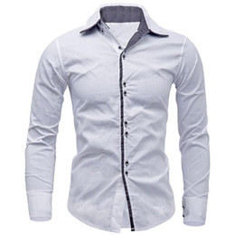 Discount mens shirt british style casual New Arrivals Men Shirt Brand British Style Long Sleeve Male Slim Fit Business Casual Clothes Men's Cothing Mens Dress Shirts