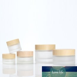 Discount skin cream bottles glass 12pcs X 5g 10g 20g 30g 50g Frost Glass Cosmetic Cream Jar With Wood Grain Lid Makeup Skin Care Lotion Container Pot Bott