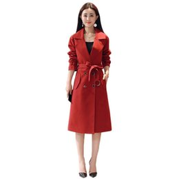 Wholesale trench red women for sale - Group buy Trench Coat Women Red XL Plus Size Loose Windbreaker New Autumn Winter Fashion Adjustable Waist Slim Chic Long Coats JD729
