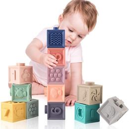 Toptan satış / Set Bebek Kavrama Oyuncak Silikon Çocuk Yapı Taşları Dokunmatik El Yumuşak Topları Bebek Masaj Kauçuk Dişçileri Sıkmak Oyuncak Blokları LJ201124