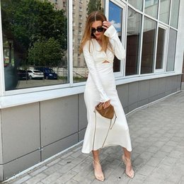 Discount sexy s out dress Fashion Women Dress Sexy V-neck Hollow Out Dress Autumn Tight Long Sleeve Solid Color For Ladies
