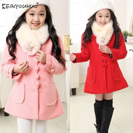 Wholesale nylon trench winter coat for sale - Group buy 2020 Winter Girl Jackets Cotton Kids Children Jacket For Girls Clothes Fur Collar Long Woolen Trench Coat Y C1012