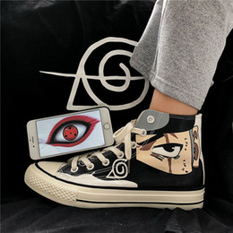Discount naruto boots Anime Naruto Canvas Shoes Sasuke Men Vulcanized Shoes Kakashi Sneakers Gaara Madara Pain Cosplay School Outdoor Travel S
