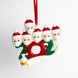 DHL Shipping Christmas Tree Pendant Personalized Family Of 4 Ornament with Isolation Face Masks Hand Sanitizer Decoration Xmas Gift GGE1772 on Sale