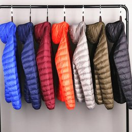 Wholesale packable down jacket for sale – warmest winter Men s All Season Ultra Lightweight Packable Down Jacket Water and Wind Resistant Breathable Coat Big Size Men Hoodies Jackets