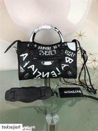 New good Best Quality 19ssbalenci Graffiti City Black Leather The First Hand Shoulder Bag Size:28-20-9.5CM