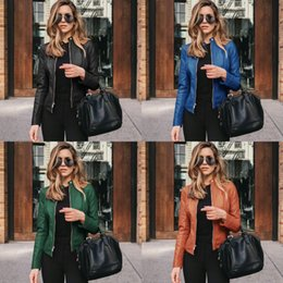 Wholesale slim suit jacket girl for sale – winter Women Jacket Motorcycle Leather Slim PU Autumn Winter Fashion Causal Solid Basic Leather Cool Girl Outwear Suit Coat
