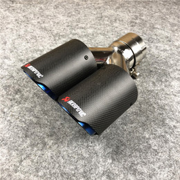 1 PCS Akrapovic Car Coated Blue Car Carbon Exhausts Dual Tips Universal AK Coated Blue Carbon Dual End Muffler Pipes on Sale