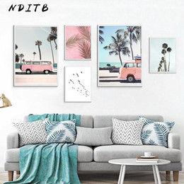 paintings beaches 2021 - Tropical Ocean Beach Palm Tree Canvas Poster Landscape Wall Art Print Painting Nordic Decoration Picture Scandinavian Ho