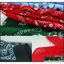 Discount 100 cotton scarf Assorted Bandanas 56*56cm 100% Cotton Novelty Double Sided Print Paisley Cowboy Bandana Party Favor Scarf Head qylxYX nana_shop