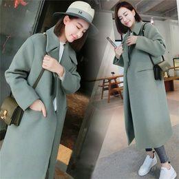Wholesale women wool coat grey slim resale online - Woman Coats Winter Korean Wool Warm Causal Slim Thicken Plus Size Grey Long Poncho Coat Women Y201001