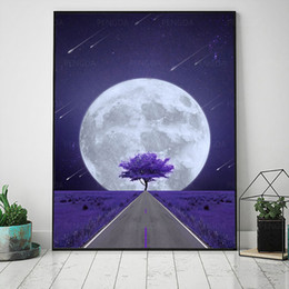 cherry tree paintings Canada - Home Decor Canvas Full Moon Night Lavender Flower Wall Art Painting Pictures Printing Modular Cherry Tree Poster Living Room